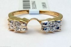 Yellow Gold Solitaire Wrap Ring Guard Enhancer (0.03ct. tw)- RG221686328079