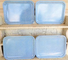 Blue and White Gingham Check Trays Enamel Metal by ShellyisVintage