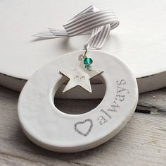 Personalised Ceramic Memorial Keepsake by Cherry Pie Lane, the perfect gift for Explore more unique gifts in our curated marketplace. Christmas Service, Christmas Time, Blue October, Light Amethyst, Family Crafts, Swarovski Crystal Beads, Ceramic Design, Ceramic Jewelry, Blue Zircon