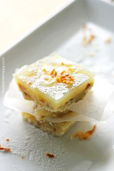 Tart and tangy, lime bars with a toasted coconut crust.