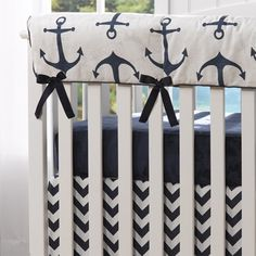 Liz and Roo Nautical Anchors Crib Rail Cover - Navy – Designed for Baby