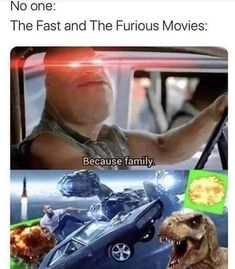 No one: The Fast and The Furious Movies: Because family....