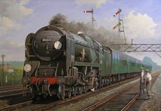 """Southern Region by Mike Jeffries - Speeding through Brookwood on the Southern region's West of England main line rebuilt Merchant Navy No 35022 """"Holland America Line"""" is at the head of a Waterloo-Bournemouth express. Holland America Line, Steam Railway, Southern Railways, Merchant Navy, Train Art, Railway Posters, Train Pictures, British Rail, Old Trains"""