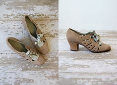 1930's oxford heels with lace up ribbon closure