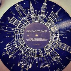 Vinyl Record with hand-painted Skyline by AdamPalmeter on Etsy