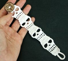 Crocheted Halloween Skull Bracelet Cuff, I must have this!