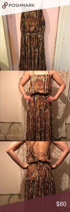 Free People Dress Beautiful Free People dress. Worn once. Low back, tires around the waist. Size small Free People Dresses Maxi