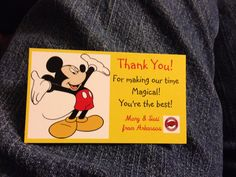 Thank you card for cast members.