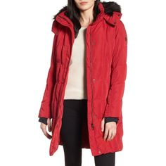 Women's Calvin Klein Hooded Down Parka With Faux Fur Trim (3.940 CZK) ❤ liked on Polyvore featuring outerwear, coats, crimson, insulated coat, faux fur trim coat, faux fur coat, hooded coat and red faux fur coat