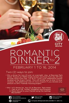 How about a romantic dinner for 2 with an overnight stay at Bayview Park Hotel? Celebrate Valentine's day here at SM City Bicutan! #loveSMBT