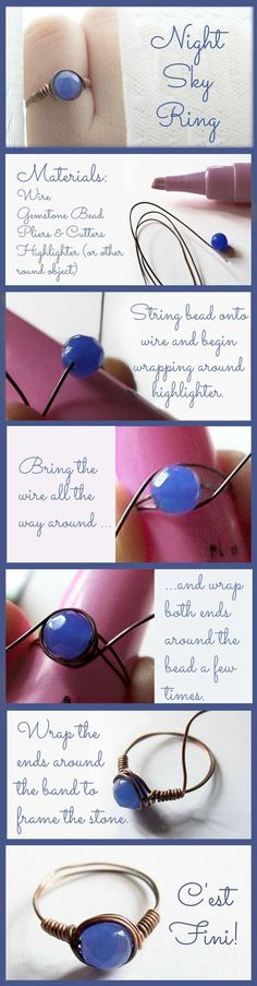Wire Rings Tutorial: How To Make Wire Wrapped Bead Rings - Jewelry - Ideas of Jewelry - This easy-to-make ring is gorgeous and so romantic! Kasia uses copper wire and a beautiful faceted agate in a shade of blue that is both deep and misty. Wire Jewelry, Beaded Jewelry, Jewelery, Yoga Jewelry, Wire Bracelets, Diy Bracelet, Jewelry Armoire, Jewelry Art, Silver Jewelry