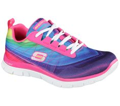 Get a spectrum of fun color and comfort with the SKECHERS Flex Appeal - Pretty Please shoe.  Skech Knit Mesh and synthetic upper in a lace up athletic training sneaker with rainbow color stripes, stitching accents and Memory Foam insole.