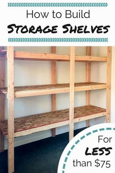 Get your garage, basement or shed organized with this inexpensive storage shelving! Free woodworking plans at The Handyman's Daughter! | easy storage shelves | easy woodworking project | cheap storage idea | garage organization | garage storage | basement organization | basement storage #garagestorage Shed Shelving, Basement Storage Shelves, Wooden Shelving Units, Barn Storage, Diy Garage Storage, Cheap Storage, Garage Organization, Storage Ideas, Build Shelves