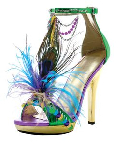 M-Mardigras Ellie Shoes, 5 Inch high heels Stiletto with Beads Feather Platforms Mardi Gras Sandals Mardi Gras, Crazy Shoes, Me Too Shoes, Peacock Shoes, Peacock Theme, Peacock Design, Peacock Feathers, Stiletto Heels, High Heels