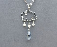 cloud necklace cloud charm necklace briolette necklace blue Swarovski crystal briolette white fresh water pearl raindrop necklace on Etsy, $38.00