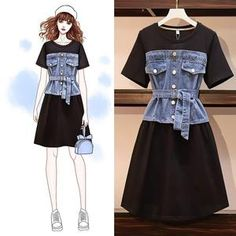 denim switching Sash belted dress set - Recommended Corde denim switching Sash belted dress set up Source by mrfecu - Kpop Fashion Outfits, Mode Outfits, Stylish Outfits, Fashion Tips, Looks Chic, Looks Style, Fashion Design Drawings, Fashion Sketches, Fashion Drawing Dresses
