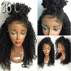 36C human hair wig products short curly full lace wig virgin hair lace front wig with baby hair deep curly hair for black women