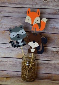 Woodland Friends Centerpiece Fox-Squirrel-Raccoon- Forest Friends- Woodland animals- Birthday Party- Decorations- Party- fox baby shower