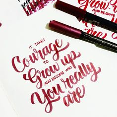 looking forward to getting my #aquash pen/watercolour set so i can do my own #brushlettering #courage