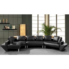 Jupiter - Black Leather Sectional Sofa - Sectional Sofas - Living Room