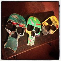 Recycled Skate boards skull wall art. Great way to go green, recycle, display your skate deck in a unique way! Skull art