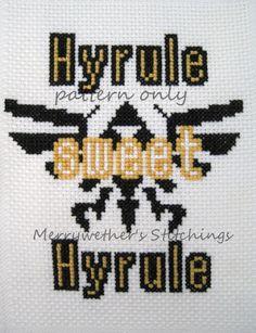 Legend of Zelda - Hyrule Sweet Hyrule -  Cross Stitch PATTERN.