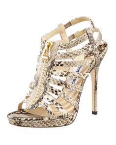 bdc9febc2fe3 Jimmy Choo Glenys Snake-Print Gladiator Sandal. Strappy HeelsGladiator SandalsShoes  HeelsShoe BootsHigh ...