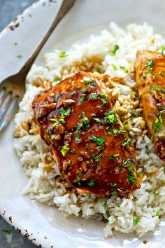 The BEST teriyaki salmon ever made completely from scratch in one skillet and served with fluffy gingered rice and lots of homemade teriyaki sauce! The BEST teriyaki salmon ever made completely from scratch in one skillet and served with fl Salmon Recipes, Meat Recipes, Seafood Recipes, Dinner Recipes, Cooking Recipes, Healthy Recipes, Weeknight Recipes, Skillet Recipes, Healthy Dinners