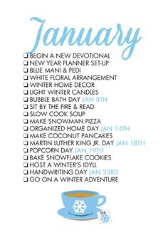 Reasons To Celebrate January! A monthly life list helps us celebrate each season of the year and find joy in every Reasons To Celebrate January! A monthly life list helps us celebrate each season of the year and find joy in every day! Life Planner, Happy Planner, Monthly Planner, Monthly Celebration, Planners, Life List, Konmari, Winter House, Months In A Year