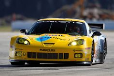 Yellow Vette on track