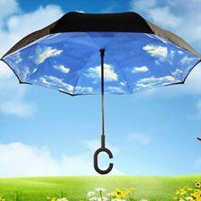Modern C-Handle Umbrella Double Layer Inside-Out/Upside Down/Reverse Umbrella