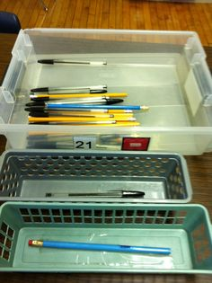 Sort pens and pencils
