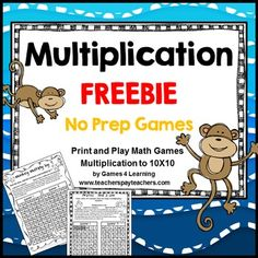 Multiplication Free NO PREP Multiplication Games by Games 4 LearningThis set is 2 Multiplication Games that review multiplication skills multiplying up to 10x10.These are PRINT and PLAY multiplication games. They require NO PREP. Just print and hand out.
