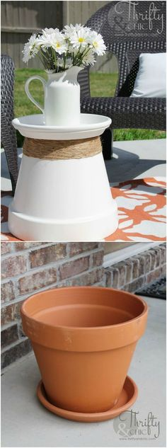 Repurposed Terracotta Pot Into Accent Table: I've been in the need of some sturdy accent tables for my porch and patio and found just the thing to do the trick! Plus, repurposing is always fun :) I had a few terracotta pots laying around and decided to put them to good use; I liked how they turned out so much I then bought a bigger one to make a bigger table.