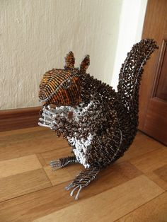 African Beaded Wire Animal Sculpture - SQUIRREL LARGE - Natural by Hadeda on Etsy