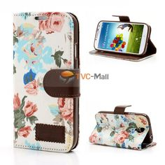 #floral Cloth Leather Wallet Case for Samsung #GalaxyS4 I9500 M919