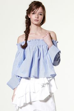 Stella Smocked Off-the-shoulder Top Discover the latest fashion trends online at storets.com