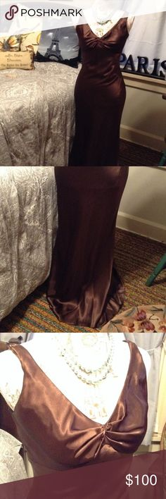 🌹👰🏼 Beautiful Brown Satin Mermaid Gown💃🏼🌃 Gorgeous! Chocolate Brown Sleeveless Satin Gown. Mermaid Style with Sheer Scarf Flourish Down the Back. Has Fishtail Back. Perfect for a Wedding, Prom, Ball, Functions, etc. Betsy & Adam Size 6 Betsy & Adam Dresses