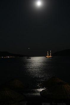 #Bodrum beach at night. #Fullmoon