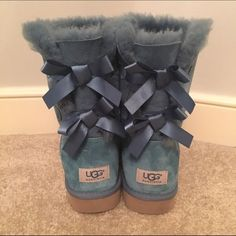 UGG Lace-Up Boots LIKE NEW. Worn once! Sheepskin Teal UGG boots. Women's size 8. UGG Shoes Winter & Rain Boots