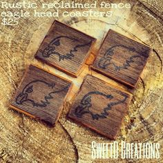 SweetD Creations Rustic reclaimed wood coasters with hand painted eagle.
