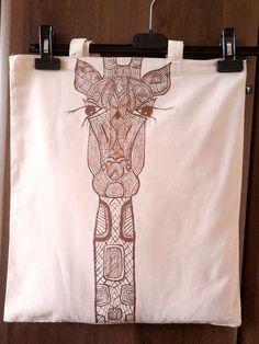 Ręcznie malowana torba żyrafa