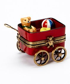 Look at this Red Wagon & Bear French Porcelain   Box on #zulily today!