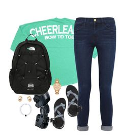 """what I wore to school today✌️"" by kaley-ii ❤ liked on Polyvore featuring Frame Denim, Chaco, The North Face, Kate Spade and Tory Burch"