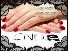 CND Shellac Red Baroness layered with Ruby Ritz and Ice Vapor ring finger accents. Designed by: Claire's Creative Nails, Northampton. Call or text: 07752 397245 to book your appointment.