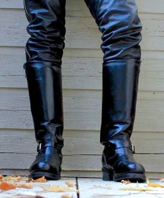 """""""Take a break officer, I'll be back with your boots later. Tall Leather Boots, Biker Leather, Leather Men, Leather Jacket, Tall Riding Boots, Tall Boots, Combat Boots, Bike Boots, Motorcycle Boots"""