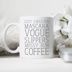Cute Coffee Cups, I Love Coffee, Cute Mugs, Coffee Mugs, Just Girly Things, Personalized Mugs, Mug Cup, Bridesmaid Gifts, Tea Cups