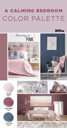 You'll have nothing but sweet dreams thanks to this calming bedroom color palette from BEHR Paint. Combine the light blush hue of Pink Posies with the deep rose tones of Tropical Hibiscus. Then, use the dark blue hue of Layers Of Ocean as a contrasting ac Calming Bedroom Colors, Bedroom Colour Palette, Bedroom Color Schemes, Bedroom Paint Colors, Colour Schemes, Colour Palettes, Kids Bedroom Paint, Blush Color Palette, Best Bedroom Colors
