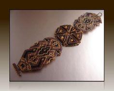 """Autumn Lace"" - Brick and Peyote stitch bracelet pattern by me (TrinityDJ) - http://cart.javallebeads.com/Autumn-Lace-Brick-Stitch-Digital-Pattern-p/td023.htm"