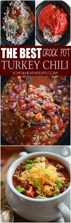 The BEST Crock Pot Chili | joyfulhealthyeats.com | #recipes #crockpot #slowcooker #lowcalorie #fallfoods #soup #healthy #light #easy #kidfriendly #turkeychili
